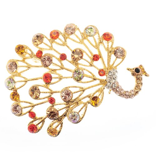 Womens Vintage Peacock Brooch Pin, 14 Gold Plated, Multi Colour Swiss Crystal Elements & Czech Crystals. Costume Jewellery, Statement Lapel Dress Indian Design, Gift Idea for Christmas & for Her