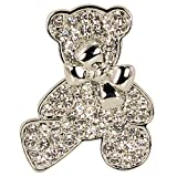 Teddy Bear Bow Silver-Tone Diamante Brooch Pin