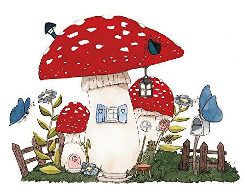 Wandtattoo Pilzhaus für die Wichteltür im Kinderzimmer Wandaufkleber Wandsticker