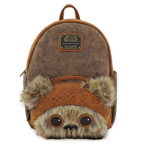 Star Wars Backpack Ewok Wicket Mini Furry Face Official Loungefly Brown One Size