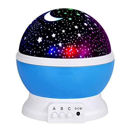 Starry Night Light Projector LED Lamp Star Moon 360 Degree Rotating with USB Cable for Baby Kid Girl Boy Birthday Gifts Presents Bedroom Decor (Blue)