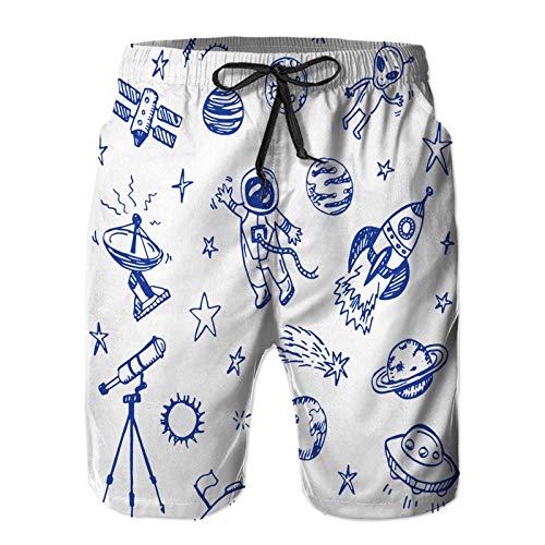 Aerokarbon Hombres Playa Bañador Shorts,Espacio Dibujado a Mano Doodle Fondo Transparente,Traje de baño con Forro de Malla de Secado rápido S