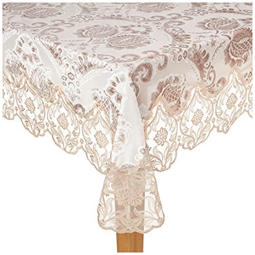 Violet Linen Elegant Velvet Lace Sheer Floral Deluxe Design Tablecloths, 70' x 120', Taupe