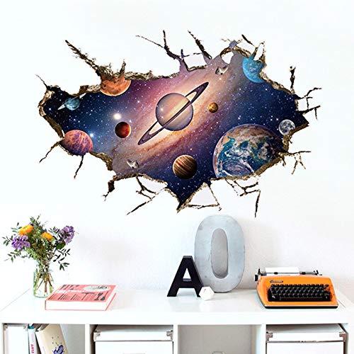 Wall Sticker 3D Galaxy Planet Space Wall Sticker For Les Chambres D'enfants Creative Étoiles Planète Univers Boy Comme Stickers Muraux Amovibles Pvc Home Décor (Color : SK9066B)