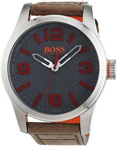 Hugo Boss Orange Paris Herren-Armbanduhr Quartz mit braunem Leder Armband 1513351