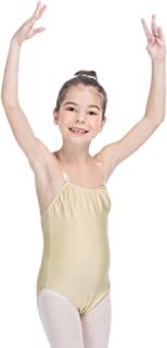 HDW DANCE Women and Girls Nude Ballet Dance Leotard Camisole with Clear Adjustable Straps