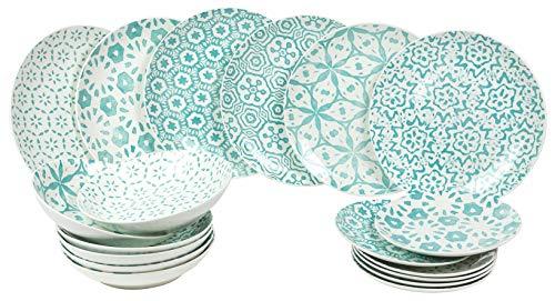 Villa d'Este Bodrum - Vajilla de 18 piezas de porcelana color azul claro