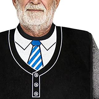 Classy Pal | Adult Bib for Men with Embroidered Design. Waterproof, Reusable & Washable (Blue Tie)