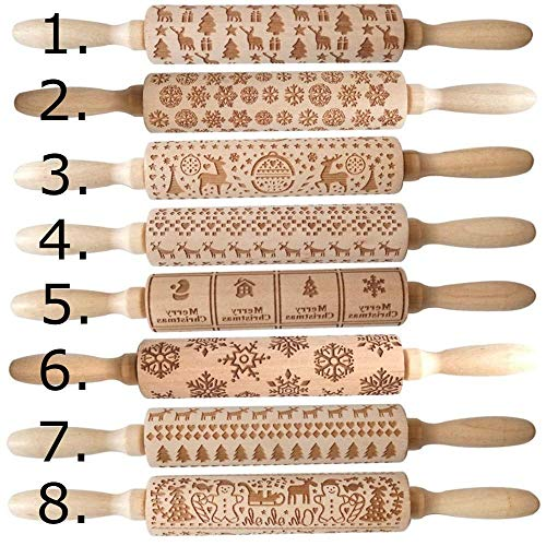 Christmas Rolling Pin | Wooden Decorative Engraved Embossed Cookie Roller | 3D Holiday Printed Baking Designs For Fondant, Cookies, Pastries | Christmas & Holiday Patterns | Reindeer, Snowmen, Trees