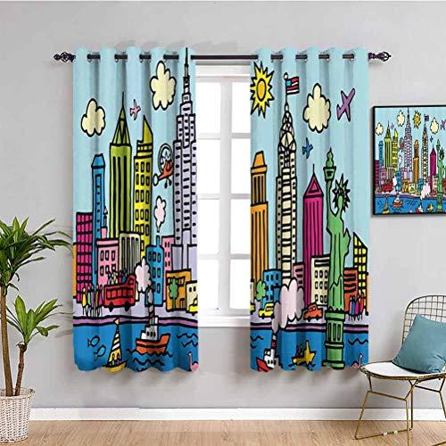 Cortina para niños de la ciudad de Nueva York en estilo de dibujos animados colorido infantil dibujo habitación infantil infantil infantil sombra insonorizada multicolor W42 x L63 pulgadas