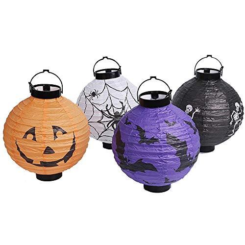 ZXJUAN 2 stuks/Lot Halloween-pompoen-papieren lantaarn hanglampen gloeiende lantaarns geestelijke feest bar partydecoratie paasmasker