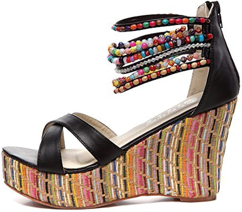 Getmorebeauty Women's Wedge Sandals with Pearls Across The Top Platform Sandals High Heels