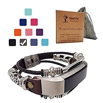 Smatiful Alta Bands with Box Pack for Youth Womens Clasp Metal Link,Adjustable Replacement Sport Wrist Strap for Fitbit Alta HR2 Heart Rate Monitor Brown