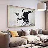 Banksy Graffiti Street Pictures - Arte de pared Impresiones de pintura en lienzo Póster de arte pop Decoración del hogar para arte de sala de estar 60x120cm (23'x47') Sin marco