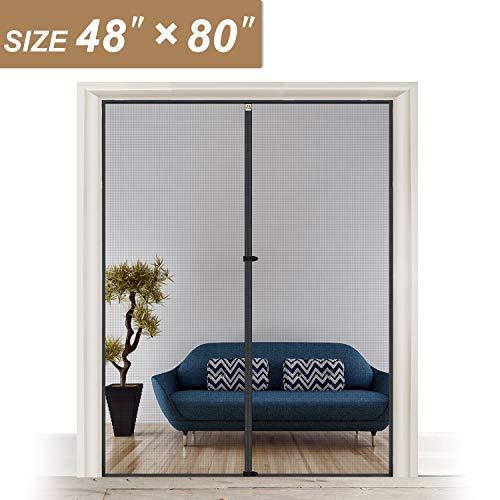 """Hanging Magnetic Screen Door Fits Door Size 48 x 80, Mosquito Door Screen Magnet Fit Doors Size Up to 48""""W x 80""""H for Sliding Door"""