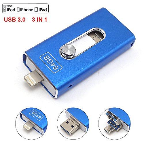 Escomdp USB 3.0flash drive Smart Phone memoria pendrive cellulari 3in 1OTG archiviazione esterna espansione per Android e computer blu Blue 64 Gb