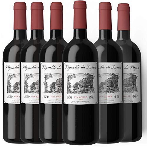 Vino tinto tempranillo VIGNOBLE DU PAZOS - Vino con aromas frutales. Pack caja de vino 6 unidades - (750ml x 6)