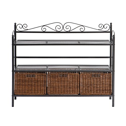 SEI Furniture Celtic Wrought Iron 3 Rattan Baskets, Storage Shelf, Gunmetal Gray