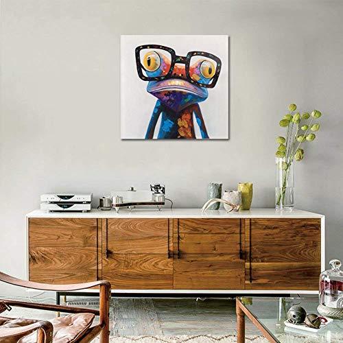 Dipinta A Mano Colorato Rana Con Gli Occhiali Animale Pittura Ad Olio Casa Decorativi Tela Acrilica Pittura Parete D'arte Dipinto a Olio Decorazione,Noframe,40x40cm