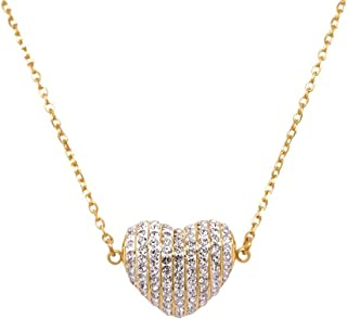 Bevilles Yellow Stainless Steel Pave Crystal Puff Heart Necklace BJ-T005N IPG