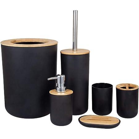 N / A Ensemble d'accessoires de salle de bain en bambou 6 pièces comprenant distributeur de savon, poubelle (4 L), porte-brosse à dents, tasse à dents, brosse à toilettes, porte-savon Noir