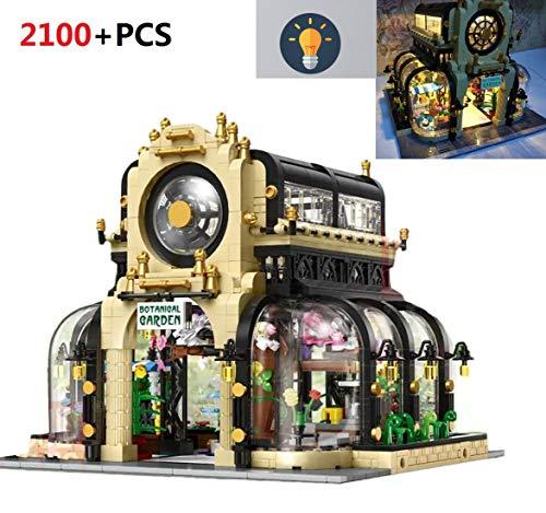 PEXL Haus Bausteine Bausatz, Modular Botanischer Garten Konstruktionsspielzeug, 2100 Klemmbausteine und Beleuchtungsset, Architektur Modell Kompatibel mit Lego Stadthaus