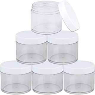 Beauticom 60 Grams/60 ML (2 Oz) Round Clear Leak Proof Plastic Container Jars with White Lids for Travel Storage Makeup Cosmetic Lotion Scrubs Creams Oils Salves Ointments (6 Jars)