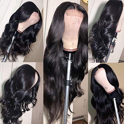Lace Front Wigs Human Hair Body Wave Lace Front Wigs Brazilian Human Hair Wigs 4X4 Lace Front Wigs for Women Body Wave Lace Front Wigs Natural Color (24 Inch, 4x4 body wave wig)