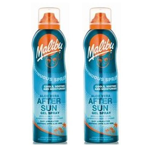2 Malibu Aerosol Continuous Aftersun Gel Spray with Aloe Vera. Pack Contains 2 Bottles - 175ml Each