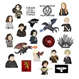 Game of Thrones Stickers, 21 PCS G-Party Game of Thrones Vinyl Laptop Stickers Pack with Daenerys Targaryen, Night King, Jon Snow, Cersei Lannister, Dragon Decals for Computer, Bottle