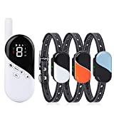 Pumila Shock Collar for 3 Dogs - Rechargeable Dog Training Collars with Tone, Vibrate, Shock Modes,...