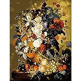 Flores de agua Pintura para colorear DIY por herramientas de números Imagen de margarita Hermosa pintura por números Regalo sorpresa Suministros de arte A9 60x75cm