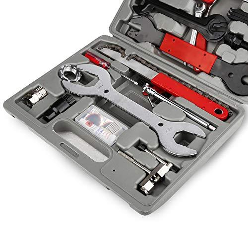 BMOT 48 TLG. hochwertig Fahrrad Werkzeugkoffer, Fahrradwerkzeug Reparaturset, Multifunktionswerkzeug Set, Multitool Fahrradwerkzeugset für die Reparatur von Reifen, Bremsen, Lichtern und Ketten