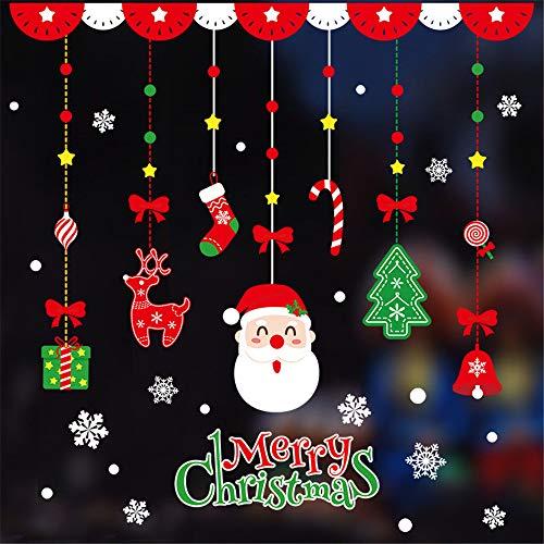 Domila Adesivi Natalizi, Adesivi in Vetro, Layout della Scena Natalizia, Albero Decorativo, vetrina per Anziani del Centro Commerciale, Porta appesa, Adesivo per Appendere la Finestra di Natale