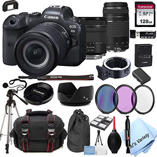 Canon EOS R6 Mirrorless Digital Camera with 24-105mm f/4-7.1 Lens Bundle + 75-300mm F/4-5.6 III Lens + 128GB Memory + Case + Filters + Tripod (26pc Bundle)