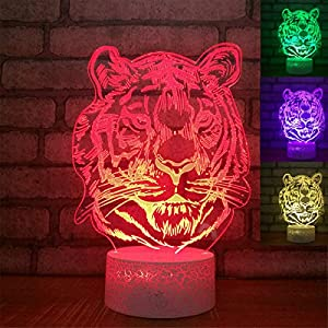 Jinnwell 3D Tiger Lion Night Light Lamp Illusion Night Light 7 Color Changing Touch Switch Table Desk Decoration Lamps Gift with Acrylic Flat ABS Base USB Cable Toy Gift