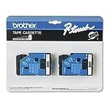 2/Pack 3/8' (9mm) White on Black TC Tape for Brother PT-20, PT20 Label Maker