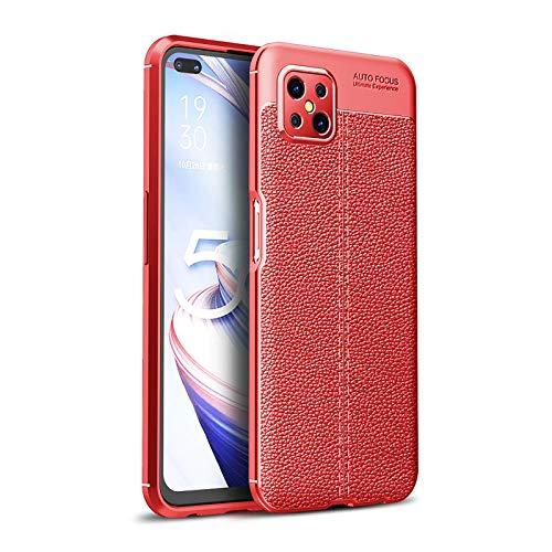 LEYAN Funda para OPPO A93 5G, TPU Silicona Protección Carcasa, Bumper Caso Case Cover con Shock- Absorción & Patrón Cuero (No Cuero), Rojo