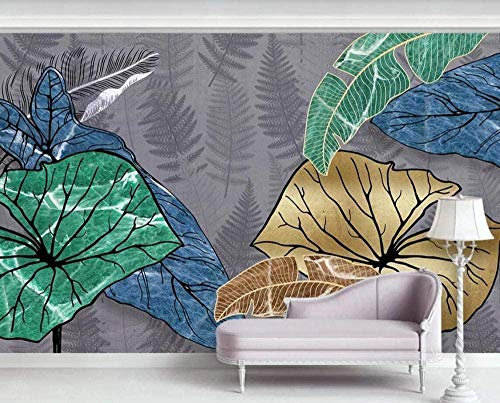 Mural Wallpaper Photo Poster Wall DecorationHand Painted Golden Tropical Leaves linesBackground Wall Background Painting Panorama 3D Wall Mural Decor 175 * 250cm