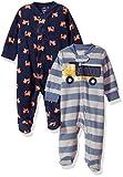 Carter's Baby Boys' 2-Pack Microfleece Sleep and Play, Fox/Construction, Newborn