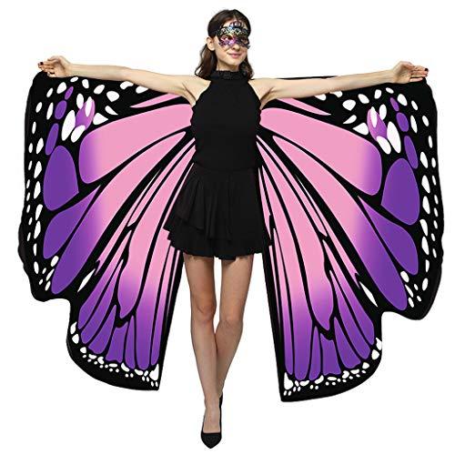 Ucoolcc Schmetterling Kostüm Damen Flügel, Erwachsene Schmetterlingsflügel Kostüm Doppelschicht Pixie Nymphe Schal Umhang für Hallowee Karneval Fasching Kostüme Party Cosplay 168 * 135cm