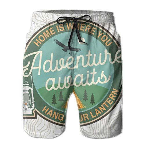 EU Vintage Typografie-Design mit Campin Zelt, Laterne, Kondor und Wald Silhouette XL weiße Herren Sporthose in Polyester Shorts mit Taschen