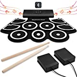 Electronic Drum Set [Bluetooth Upgraded Version], Veetop Portable Roll up Drum Pad