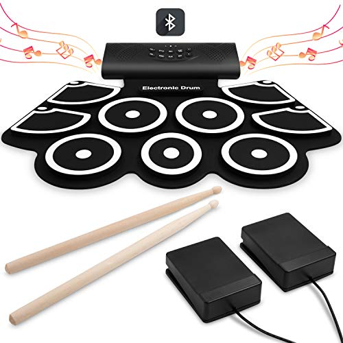 Electronic Drum Set [Bluetooth Upgraded Version], Veetop Portable Roll up...
