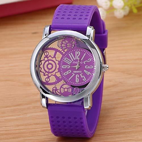 XIALINR Relojes De Las Niñas, Las Mujeres Miran El Cuarzo, La Enfermera Reloj De Cuarzo, Reloj De Cuarzo del Cinturón De Silicona del Dial del Engranaje Hueco Madam Reloj de Moda (Color : Purple)