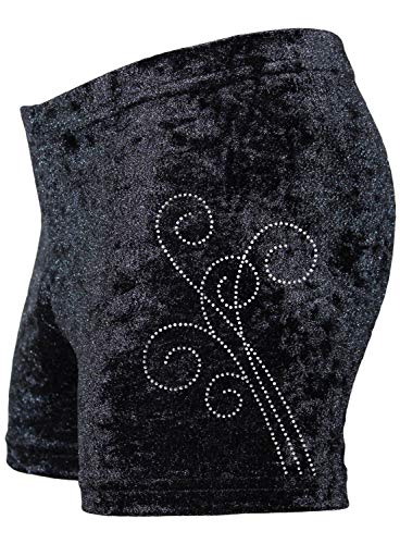 GymStern Kinder & Damen Shorts bi-elastisch komfortabel Kurze Fitness Hot Pants Hose Buket Strass | Oeko-TEX® 100 | Versch. Größe, Farbe, Stoffe | ML111030 | Farbe Crash Samt: Schwarz, Größe 140