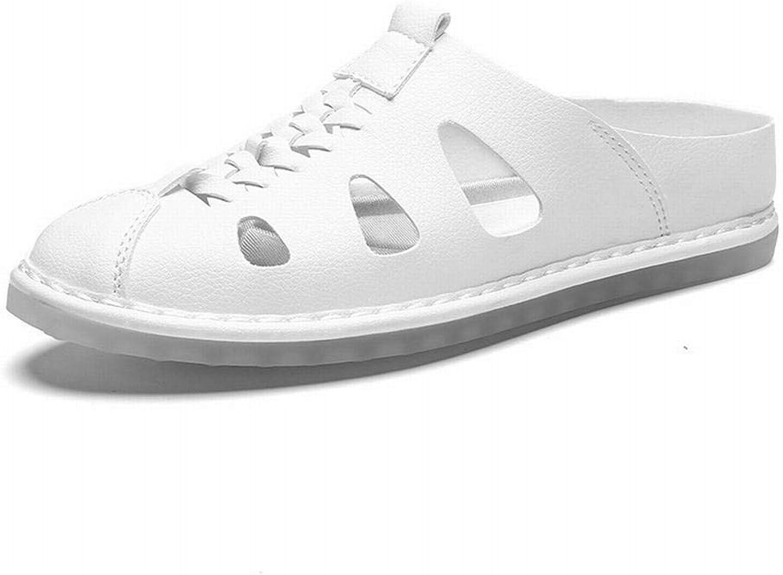 Breathable Men's Casual Sandals Leather Baotou Beach Sandals Men's shoes (color   White, Size   44)