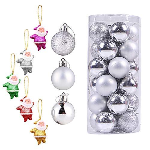 Christmas Balls Gadgets Brillantes Modernos Suministros De Decoración De Plástico Adornos De Boda 24 Piezas Colgantes De Cumpleaños para Fiestas-B-4Cm