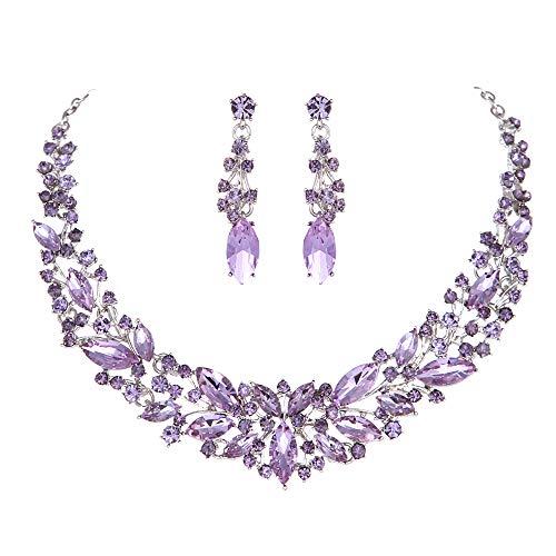 Youfir Austrian Crystal Rhinestone Bridal Wedding Necklace and Earrings Jewelry Sets for Women (Amethyst)