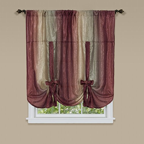 "Achim Home Furnishings Ombre Tie up Shade Window Curtain, 50"" x 63"", Burgundy"